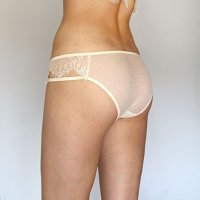 Sheer Panties. Light Beige Eyelash Panties. Bridal Lingerie. Ivory Lace Panties.