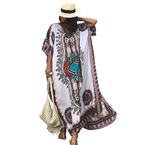 2e04255f16f60 Women's White Ethnic Print Kaftan Maxi Dress Summer Beach Dress ...