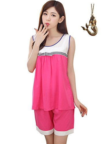 SanJL Women's Summer Sleepwear Short Pajamas Sets (XL, Fuchsia)