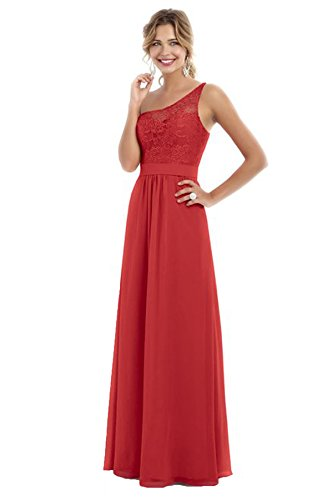 Beauty Bridal Women's One Shoulder Bridesmaid Chiffon Prom Dresses Long Evening Gowns S007 (20W,Persimmon)