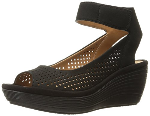 CLARKS Women's Reedly Salene Wedge Sandal, Black Nubuck, 8.5 M US