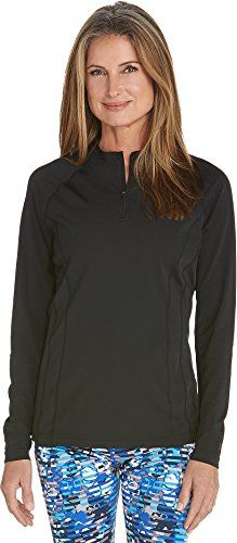 Coolibar UPF 50+ Women's Long Sleeve Freestyle Rash Guard – Sun Protective (3X- Black)
