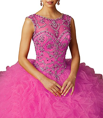 Fanciest Sweet 16 Ball Gowns Long Cap Sleeve Beaded Prom Quinceanera Dresses Hot Pink US4