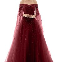 LMBRIDAL Women's Off Shoulder Long Prom Dress A Line Lace Wedding Gown Burgundy 4