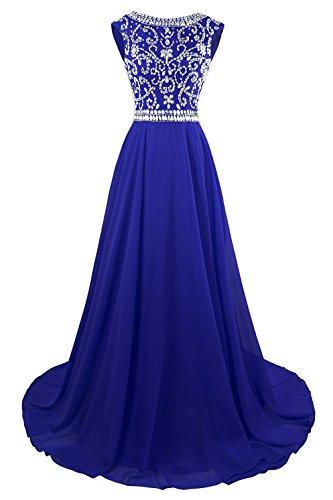 MsJune Long Prom Dresses Cap Sleeves Bridesmaid Wedding Guest Gowns Beaded Dress Royalblue 14
