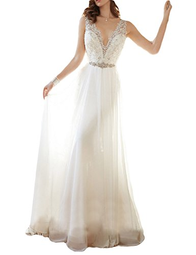 2995f736dc3 OYISHA Women s V-Neck Lace Beach Wedding Dress Chiffon Beaded Bridal Gown  90WD Ivory 16