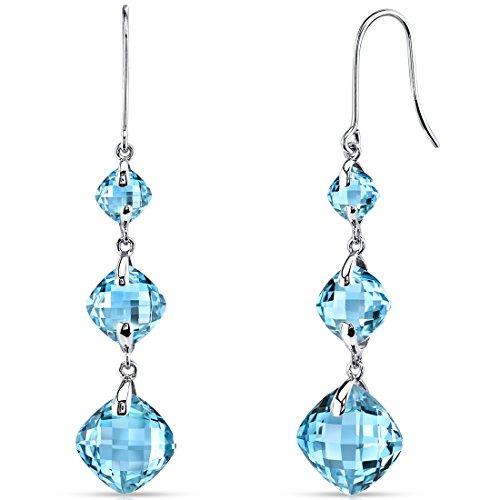 14 Karat White Gold 3 Stone Design 11.75 Carats Swiss Blue Topaz Dangle Earrings