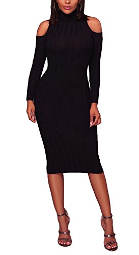 FOUNDO Womens Slim Fit Ribbed Turtleneck Cut Out Long Sleeve Sweater Midi Dress Black M