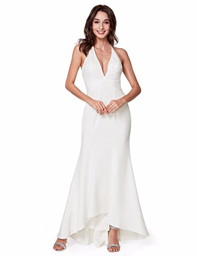 Ever-Pretty Floor Length V-Neck Sexy Backless Evening Dresses for Women 10 US White