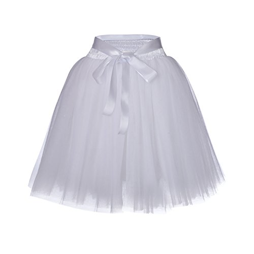 High Waist Dance Petticoat Adult A-Line Tutus for Women Tulle Skirt for Bridesmaid/Wedding Flower Girl Gown Prom Party (White)