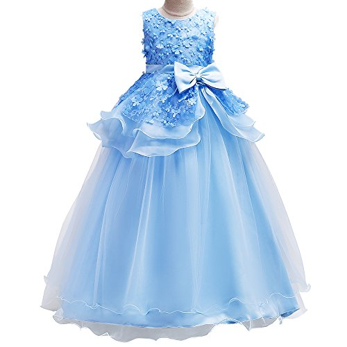 HUANQIUE Girls Lace Flower Girl Pageant Dress Party Wedding Dresses Blue 6-7 Years
