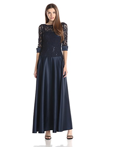 JS Collection Women's Combination Lace and Satin Dress with Stretch Lace Top Satin Cuffs and Drop Waist Into A Satin Skirt, Navy, 4