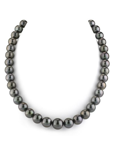 THE PEARL SOURCE 14K Gold AAAA Quality GLA Certified Black Tahitian South Sea Cultured Pearl Necklace in 18″ Princess Length for Women