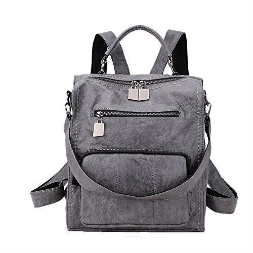 Women Backpack Purse,RAVUO Ladies PU Leather Casual Shoulder Bag mini Backpack for Girls Three Ways to Carry Grey