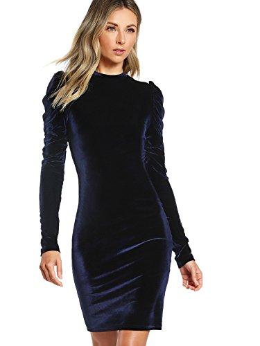 Floerns Women's Puff Long Sleeve Cocktail Velvet Bodycon Dress Blue M