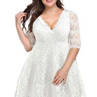 Pinup Fashion Women's Plus Size Lace Bridal Formal Skater Dress White 22W