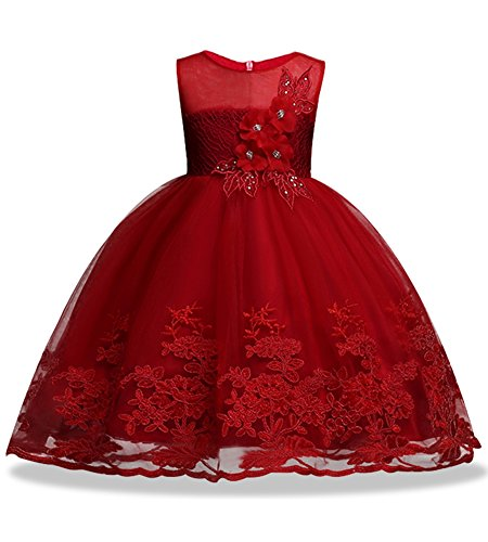 wedding dresses for kids holiday celebration bridesmaid sleeveless toddler princess children lace tutu ball gown size 6 7 age of 6 graduation special