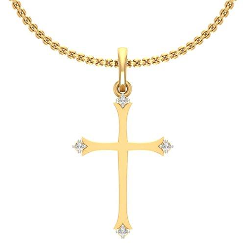 14K Yellow Gold (HallMarked) 0.03cttw round-shape Diamond (IJ | SI) Diamond Pendant