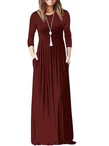 PINKMILLY Women Loose Plain 3/4 Sleeve Maxi Dresses Casual Long Dress with Pockets Burgundy Small