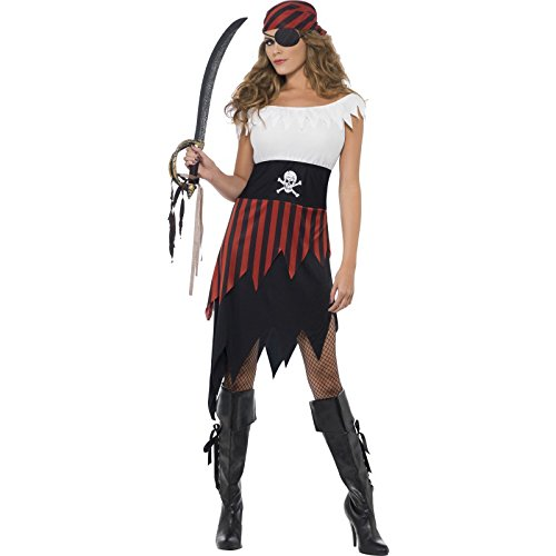 Smiffys Women's Pirate Wench Costume, Dress and Headpiece, Pirate, Serious Fun, Size 10-12, 30716