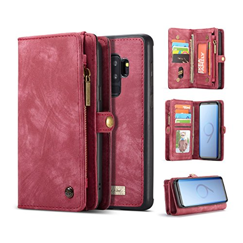 Galaxy S9 Plus Wallet Case,AKHVRS Handmade Premium Cowhide Leather Wallet Case,Zipper Wallet Case [Magnetic Closure]Detachable Magnetic Case & Card Slots for Samsung Galaxy S9 Plus – Red