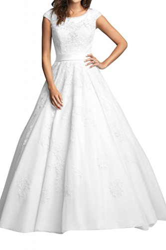 Angel Bride White Modest A-Line Jewel Floor length Bridal Gowns with Cap Sleeves- US Size 12