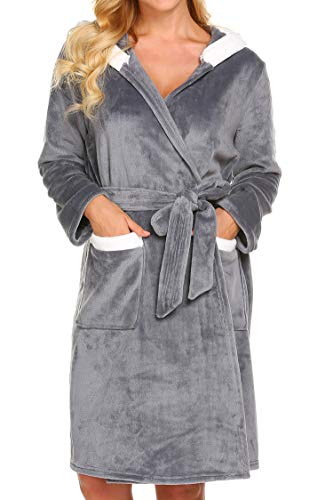 Ekouaer Womens Hooded Bathrobe Soft Lightweight Plush Robe with Pockets
