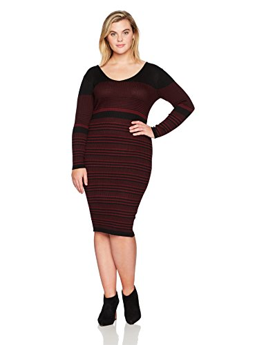 Gabby Skye Women's Plus Size 3/4 Sleeve V Neck Sweater A-line Dress, Black/Raisin, 3X