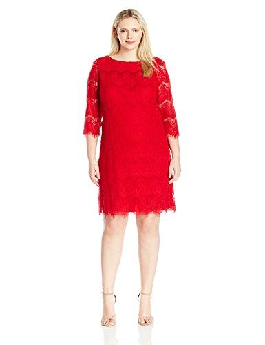 Jessica Howard Women's Plus Size 3/4 Sleeve Shift Dress, Red, 18W