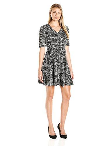 Julian Taylor Women's Elbow Sleeved V-Neck Textured Knit Dress, Black/White, 14