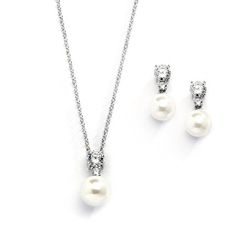 Mariell Cubic Zirconia & Ivory Pearl Wedding Necklace Earrings Jewelry Set Bridesmaids & Brides