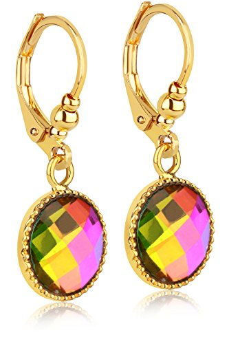 Multicolored Iridescent Crystal Dangle Earrings – 24K Gold Coated – by Clecceli