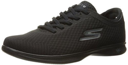 Skechers Women's Go Step Lite-Dashi Walking Shoe, Black Mesh,10 B M US