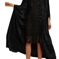 Urban CoCo Women's Costume Full Length Crushed Velvet Hooded Cape (Series 2-Black)