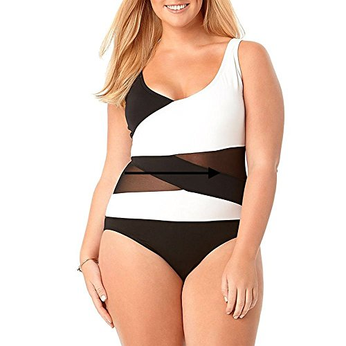 Wenly zeng Women's Plus Size One Piece Swimwear with Asymmetric Spliced (1X, Black)