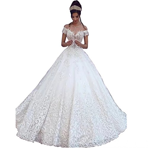 Chady Sexy Off Shoulder Lace Ball Gown Wedding Dresses for Bride 2018 Cap Sleeves Applique Sweep Train Backless Bridal Gowns