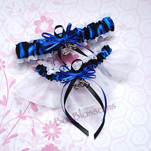 Customizable handmade – Motorcycle charms – Cool blue flames & white organza wedding bridal keepsake garter set