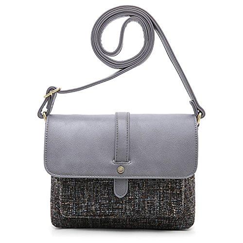 ECOSUSI Women Shoulder Crossbody Bag Flap-over Vintage Handbag Purse with Back Pocket, Grey
