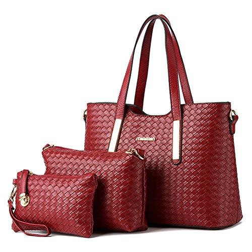Vincico174;Women 3 Piece Tote Bag Pu Leather Weave Handbag Shoulder Purse Bags (Wine Red)