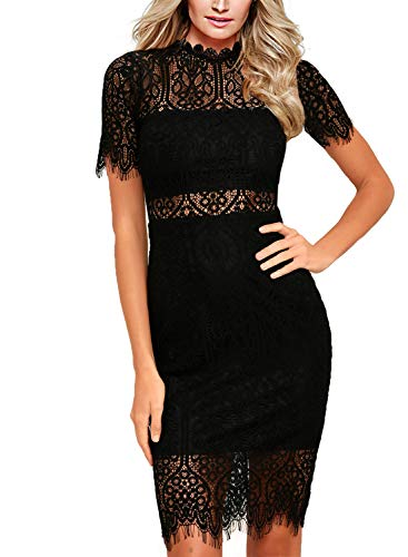 9ac1b7034d12a Zalalus Women's Lace Dresses for Cocktail Wedding Party Elegant High Neck  Short Sleeves Above Knee Length Summer Bodycon Casual Midi Dress Black US6  ...