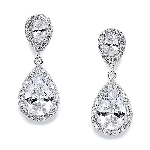 Mariell Cubic Zirconia Teardrop Wedding Earrings for Brides – Genuine Platinum Plated Bridal Jewelry