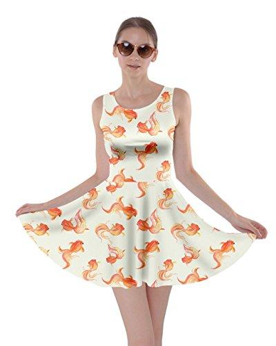 CowCow Womens Goldfish Skater Dress, Goldfish – L