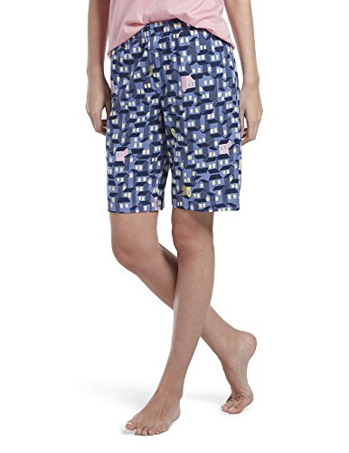 HUE Women's Plus Size Printed Knit Bermuda Pajama Sleep Short, Bleached Denim/Ticky Tacky Houses, 2X