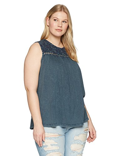 Lucky Brand Women's Plus Size Embroidered Tank TOP, Tapestry, 3X