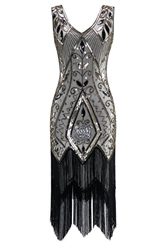 Metme Women's 1920s Vintage Flapper Fringe Beaded Great Gatsby Party Dress, Champagne, X-Large