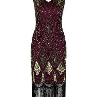 PrettyGuide Women 1920s 1920s Gatsby Cocktail Sequin Art Deco Flapper Dress L Gold Burgundy