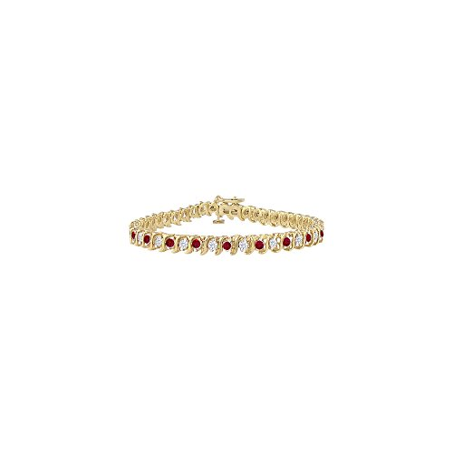 Ruby and Cubic Zirconia Tennis Bracelet in Yellow Gold