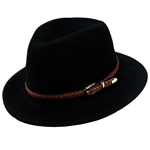Verashome Felt Panama Hat-Adjustable 100% Wool Fedora Brim Wide Band Vintage Fit for Women and Men's Trilby for Autumn and Winter (Black)