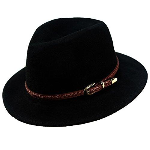 Verashome Felt Panama Hat-Adjustable 100% Wool Fedora Brim
