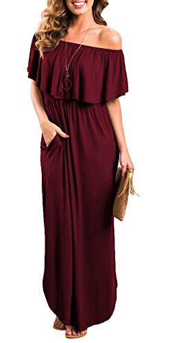 Womens Off The Shoulder Ruffle Party Dresses Side Split Beach Maxi Dress Wine Red XL